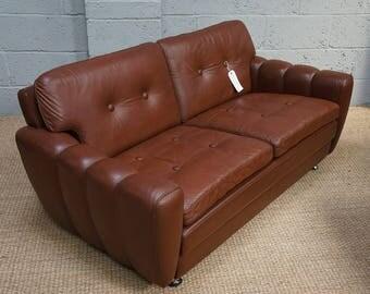 Vintage Danish Brown Leather Sofa