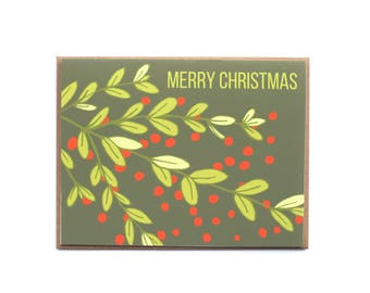 Merry Christmas Holiday Card, Evergreen Holiday Card, Blank Christmas Card, Boxwood and berry, red and green