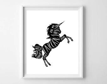 Black and White Unicorn Print, Printable Art, Rainbow Poop, Unicorn Print, Unicorn Wall Art, Unicorn Kids Decor, Unicorn Nursery Decor