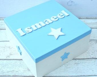 Large Wooden Handpainted Keepsake Box Baby memory box Baby Gift Christening Baptism New Baby Gift Large Memory Box