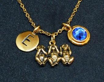 Three Monkeys necklace, swarovski birthstone, initial necklace, birthstone necklace, initial charm