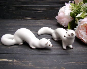 Porcelain Figurine White Weasel Antique Animal USSR Ceramic Souvenir Set of 2 Ferret Mink Ermine Stoat Polecat Polonnoye Home decor