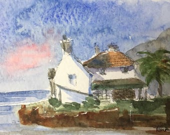 Seascape ORIGINAL Miniature Watercolour painting 'Coastal Cottage' ACEO, For him, For her, Home Decor Gift Idea Wall Art, Free Shipping