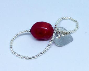 Silver Stretch Heart Bracelet with Red Coral, Hammered and Handmade