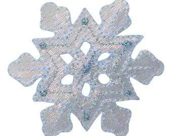 Blue Shimmery Snowflake Applique Patch (Iron on)