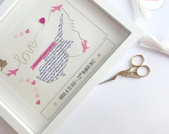 Heart Map Gift Unique Wedding Gift Custom Map Pink Wedding Personalised Word Art Gift couple Bride and Groom Pastel Pinks Bride and Groom