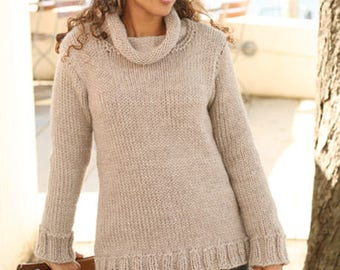 woman sweater, Wool hand knit sweater, chunky jumper, made to order, gift for her