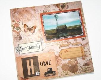 Heritage Scrapbook Layout - Family Scrapbook Pages - Heritage Pages - 12 by 12 Family Layouts - Premade Heritage Pages, Premade Family Pages