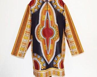 Black Multi Dashiki Tunic, Big and Tall Dashiki, Dashiki Tunic with Mandarin Collar,  Unisex Shirt, Long Sleeve Afro Shirt - Made to order