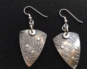 """Sterling silver """"ancient look"""" shield dangle earrings."""