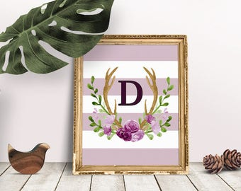 Baby Initial Decor D | Antler Wreath, Baby Wreath Letter, Rustic Letter, Personal Baby Room, Name Letter Poster, Floral Letter