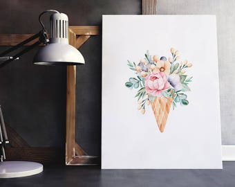 Food Art | Floral Ice Cream Cone Bouquet, Dessert Art, Watercolor Food, Ice Cream Wall Art, Ice Cream Poster, Ice Cream Print, Dessert Quote
