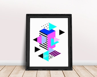 Geometric Triangles | Triangle Art Decor, Geometric 80s Art, Marble Decor Print, Triangle Abstract, Triangle Wall Art, Triangle Wall Decor