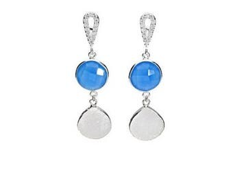 On Sale White druzy earrings, blue chalcedony, sterling silver, drusy earrings, gemstone earrings, druzy jewelry, natural stone, statement j