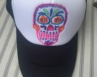 Sugar Skull Katrina skull trucker hat