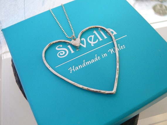 Sterling Silver Large Open Heart Pendant - Hammered Heart- Handmade in Wales
