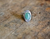 Sterling Silver Ring | Silver Ring | Rustic Silver Rings | Green Aventurine Ring | Natural Stone | Rings For Women | Hammered Rings