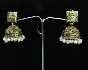 Beautiful Indian Pearl Earrings , Golden Oxidized Earrings , Jhumka Jhumki Jewelry , Ethnic Long Drop Chandelier , Unbelievable Prices.