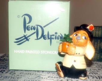 Vintage PenDelfin rabbit figurine named Ollie. Hand-painted Stonecraft. Original box and label.