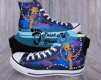 Guardians of the Galaxy, Groot, Converse, hand painted shoes, free shipping in the US