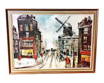 Vintage IMPRESSIONIST PAINTING oil framed signed french cityscape wall art mid century 60s paris windmill european