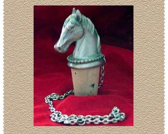 Lovers Horse Head Wine Fine Pewter Bottle Stopper