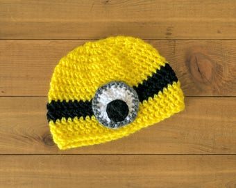 Crocheted Minion Hat-- Toddler