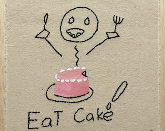Eat Cake!, Original Embroidery Art