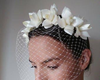 Birdcage veil floral headband - 1930s vintage wedding veil- Wedding headpiece with french net veil- bridal fascinator with veil