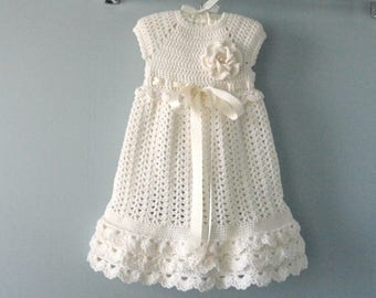 Christening Gown Crochet Baby Dress Crochet Baptism Baby Girl Dress  Baby Shower Baby Girl Outfit Knitted Baby Dress Newborn Baby Gift