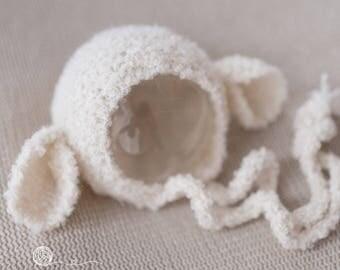 knitted lamb bonnet, Newborn girl, Newborn boy, photography prop, handmade lamb, lamb bonnet