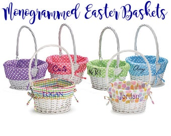 Easter Basket, Monogrammed Easter Basket, Personalized Easter Basket, Polka Dot Easter Basket, Wicker Easter Basket with Liner - WW01