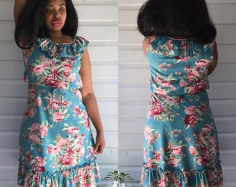 Vintage 1980s Green & Pink Floral Ruffle Dress size L/XL