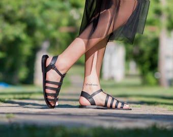 Leather sandals, Women sandals, Greek sandals, Low Gladiator sandals, Handmade sandals for women, Black sandals, Summer shoes, Roman sandals