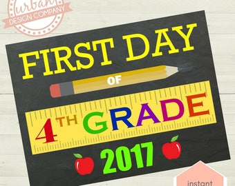 First Day of Fourth Grade Sign, School Photo Prop, First Day Photo, First Day of School, Fourth Grade, Grade Four