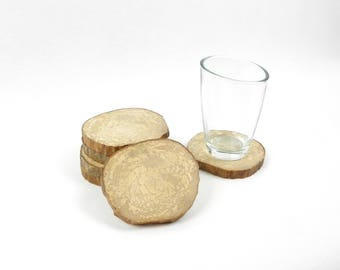 Coaster set of 6 coasters hand made with slices of wood, sanded and varnished
