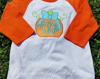 Monogram Pumpkin Shirt-Monogram Youth Raglan-Monogram Youth Pumpkin Shirt-Fall Shirt