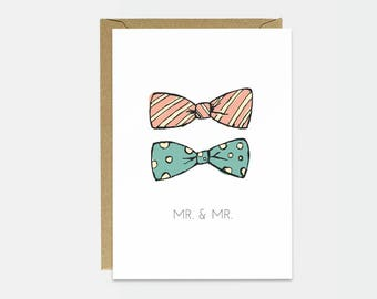 Gay Wedding Card - Anniversary Card - Engagement Card - Card For Husband - Cute Wedding Card - Simple Wedding Card - Mr and Mr