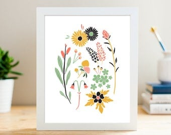 "Botanicals of North America // 8x10"" Archival Print // Digital Illustration"