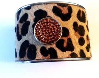 Leopard and rhinestone fabric Cuff Bracelet