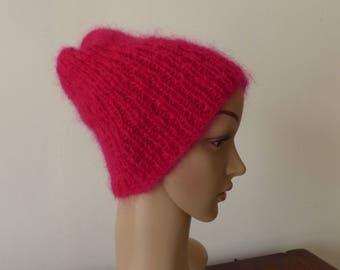 Bonnet femme rouge au tricot