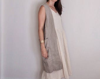 The Essential Vest / reversible flax linen knee length vest / natural or colorful / rustic utilitarian and artsy / ships plastic free