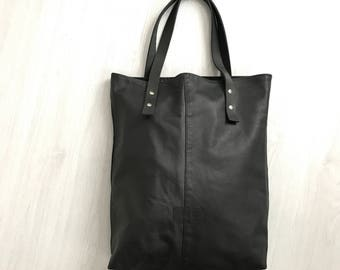 Soft black leather tote bag, repurposed leather bag