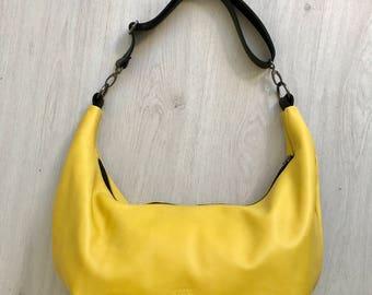 Soft yellow leather crossbody bag, shoulder bag, hobo bag