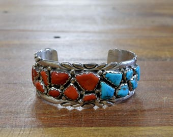 Zuni Wayne Cheama Sterling Silver, Turquoise and Coral Cuff Bracelet