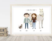 Custom portrait with pets, custom portrait family illustration, cartoon portrait of family, pet lovers personalised gift