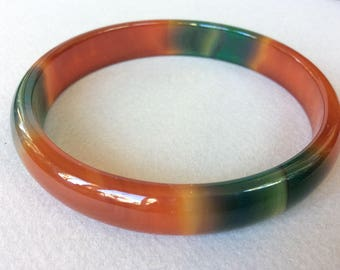 Dyed Agate Green and Red/Brown Bangle Bracelet