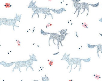 Free Shipping - Dear Stella Dotted Foxes - Stella 699 White