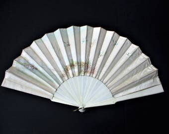 Antique French Satin Silk Hand Fan 19th Century Hand Painted Gouache Sparrows Bird Flowers Floral Handpainted Fan