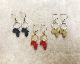 Small Africa earrings / dainty jewelry / red, gold, and black